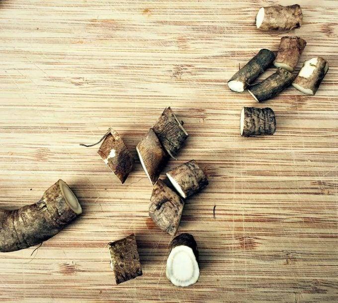 slicing burdock root