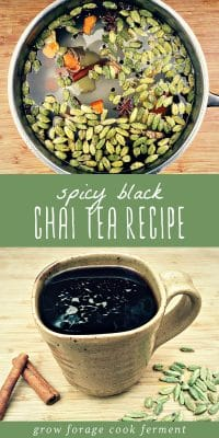 Homemade chai tea brewing in a pot, and a mug of freshly brewed spicy black chai tea.