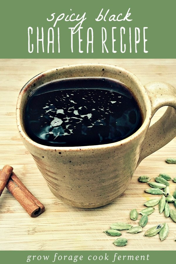 A mug of homemade spicy black chair tea.