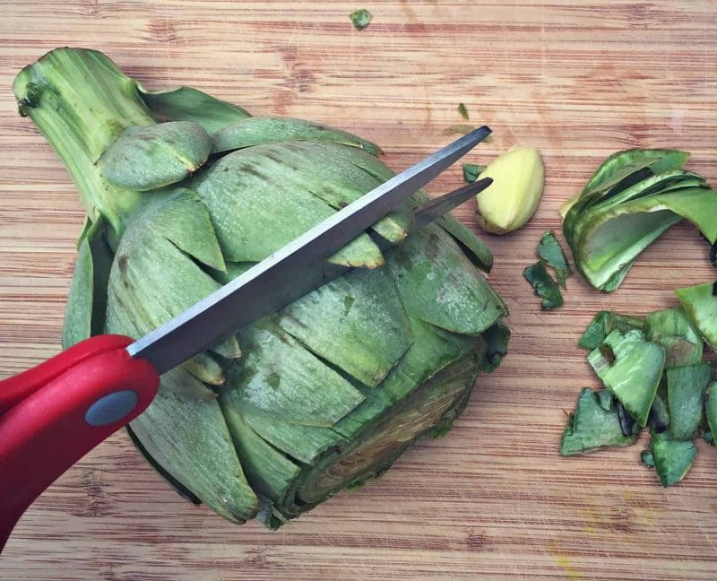 cut artichoke leaf tips