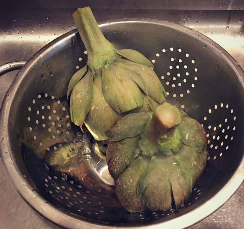 drain artichokes