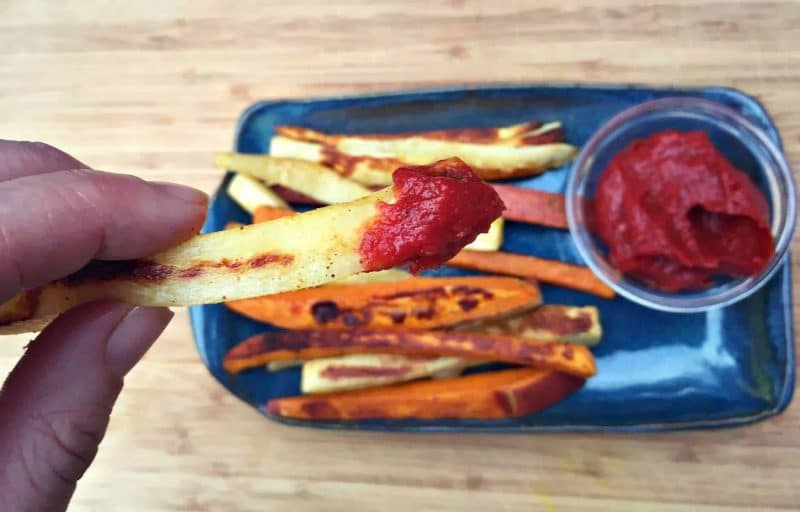 fermented ketchup on a parsnip fry