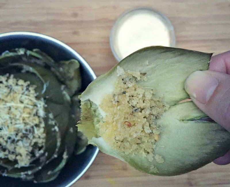 stuffed artichoke leaf