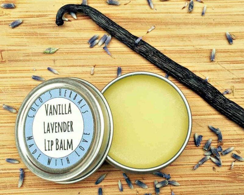 vanilla lavender lip balm tin
