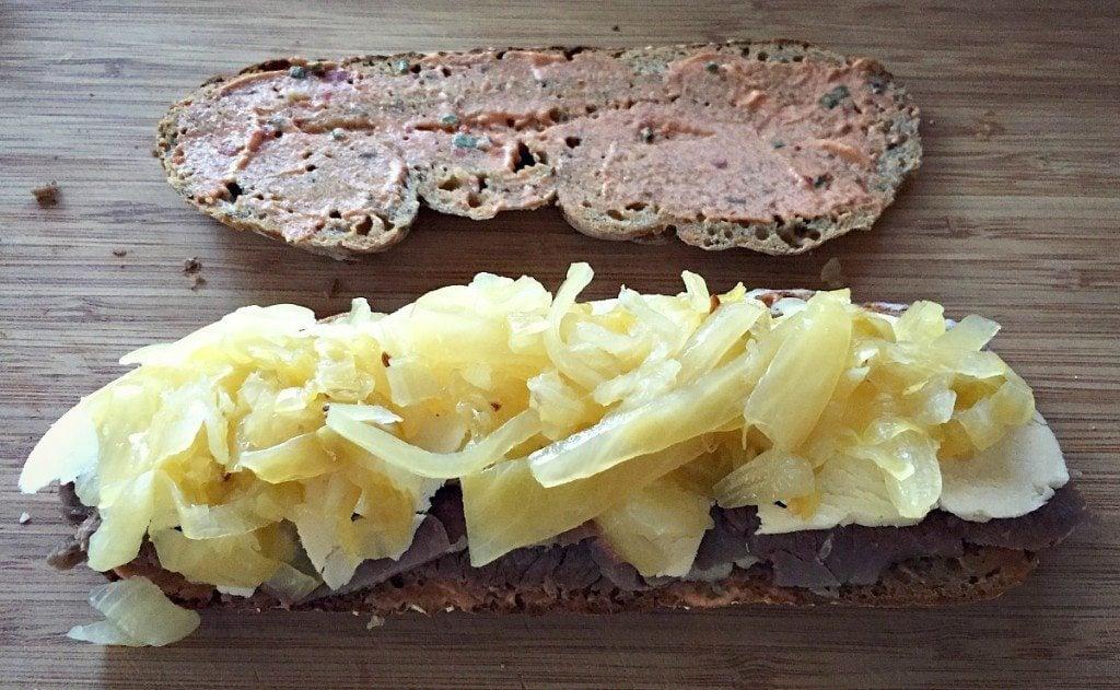 assemble reuben sandwich