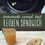 A reuben sandwich cooking in a cast iron skillet, and a reuben sandwich on a cutting board made with homemade nitrate free corned beef.