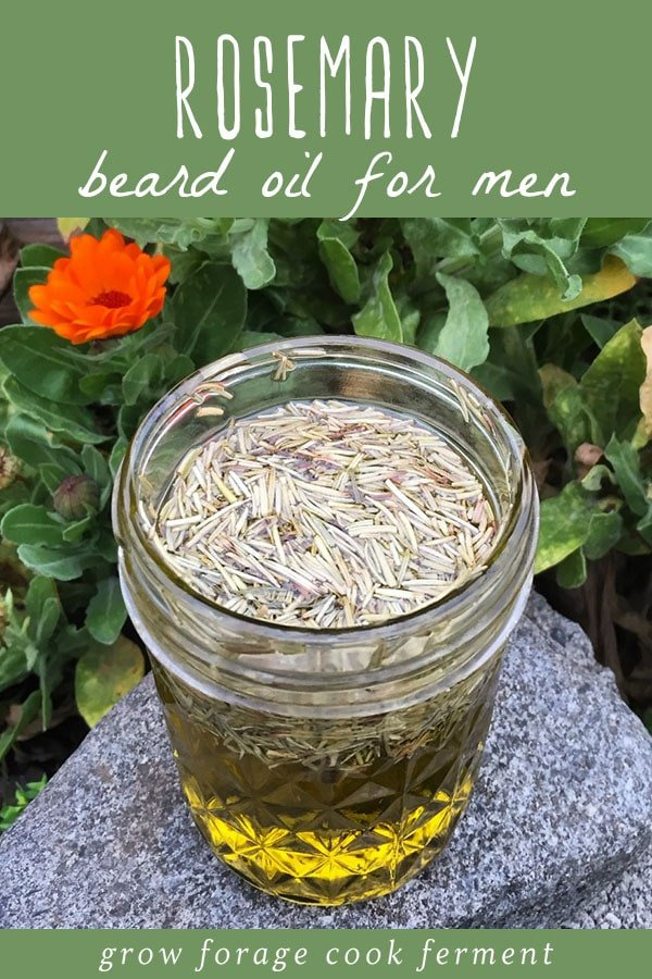 A jar of homemade rosemary beard oil.