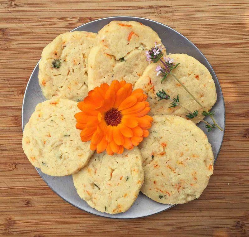 calendula thyme shortbread cookies