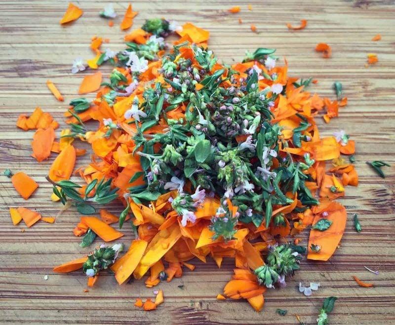 chopped calendula and thyme