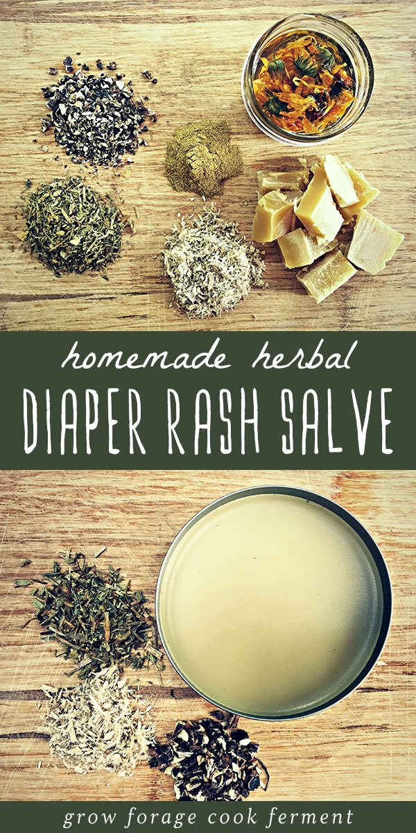A tin of herbal diaper rash salve with fresh herbs.