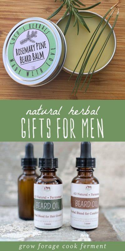 Several dropper bottles of beard oil and a tin of homemade beard balm.