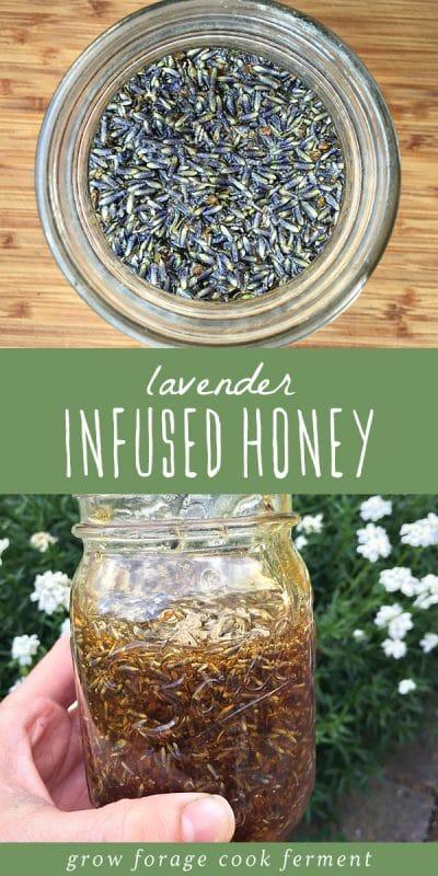 A jar of lavender herbal infused honey.