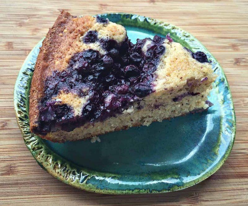 blueberry cornmeal skillet cake slice