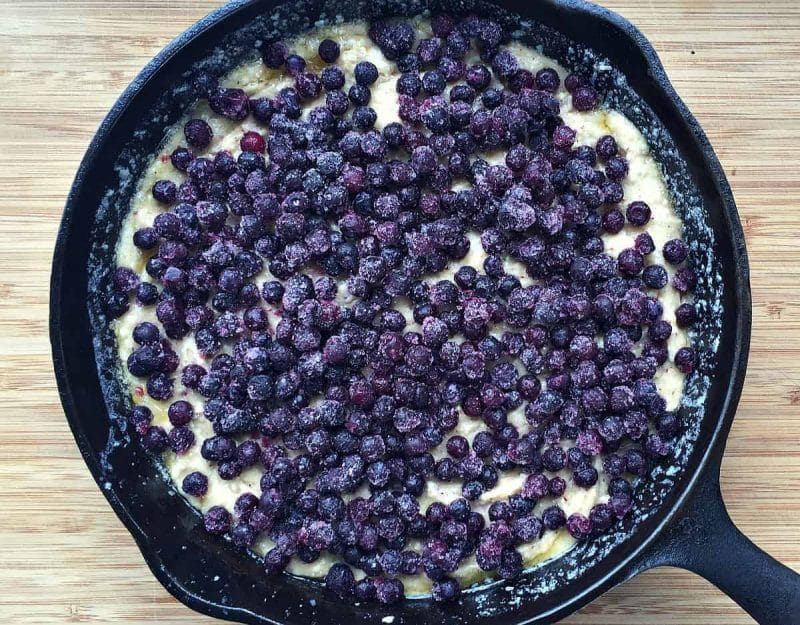 blueberry skillet cake before baking
