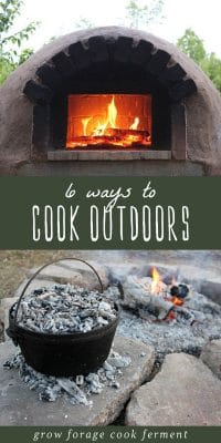 An outdoor wood burning oven and fire pit for cooking food without charcoal.