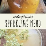 A jar of elderflower sparkling mead, and a glass of sparkling mead garnished with a fresh elderflower spring.