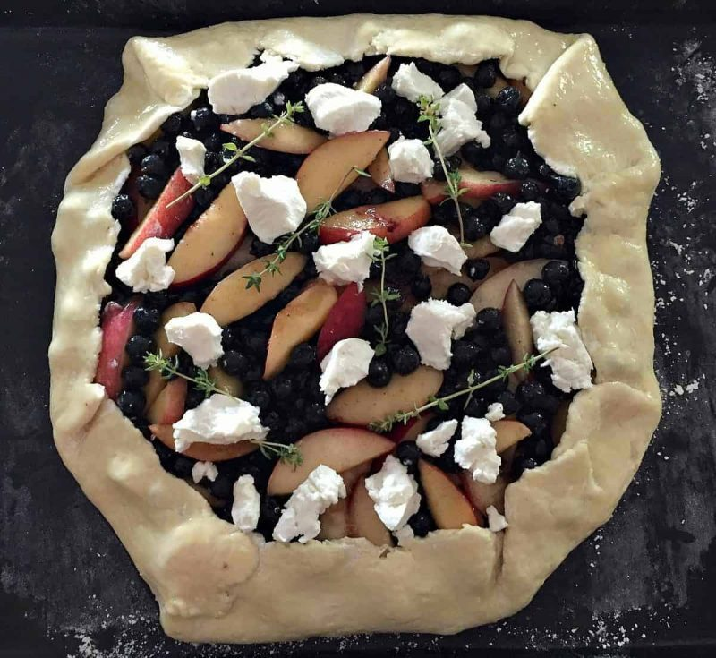 pre baked peach and blueberry galette with goat cheese and thyme