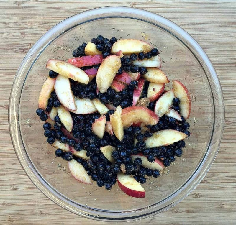 bowl of peaches and blueberries