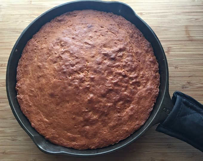 plum cake out of oven