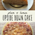 A whole plum and lavender upside down cake, and a slice of upside down plum cake with lavender whipped cream.