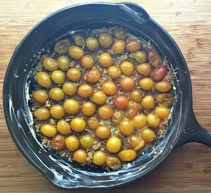 plums in cast iron skillet