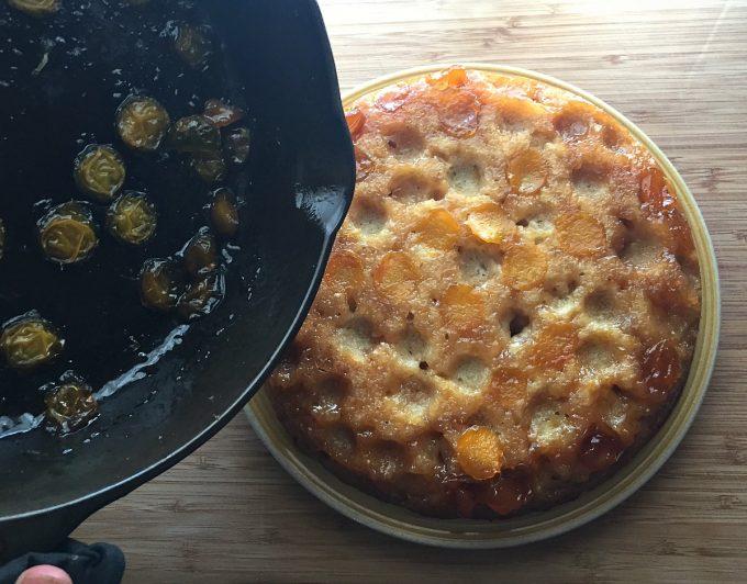 plums stuck to pan