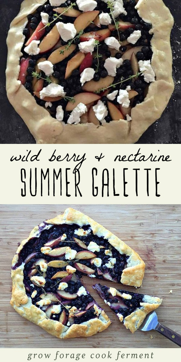 Wild berry and nectarine galette with goat cheese before and after baking.