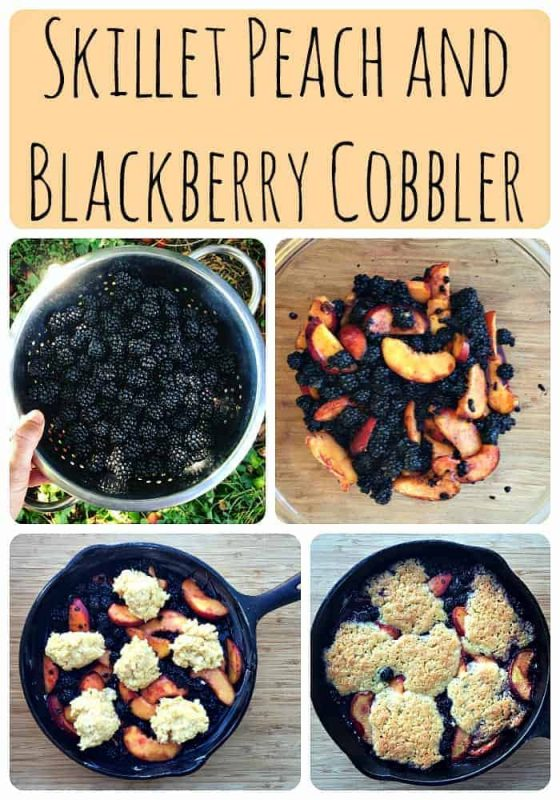 Skillet Peach and Blackberry Cobbler