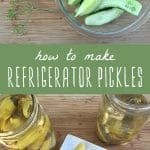 Sliced cucumbers and pickling spices, and two jars of refrigerator pickles.