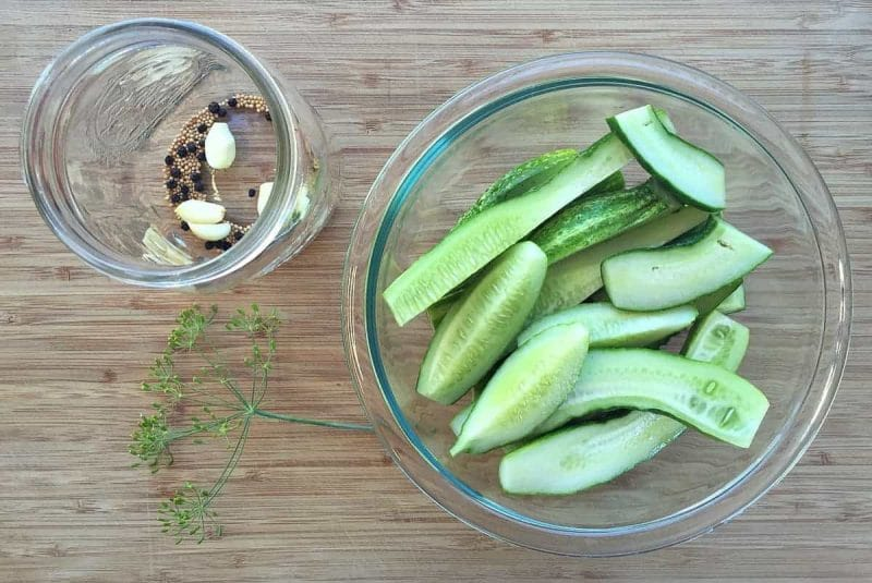 cucumbers in a bowl for making refrigerator pickles