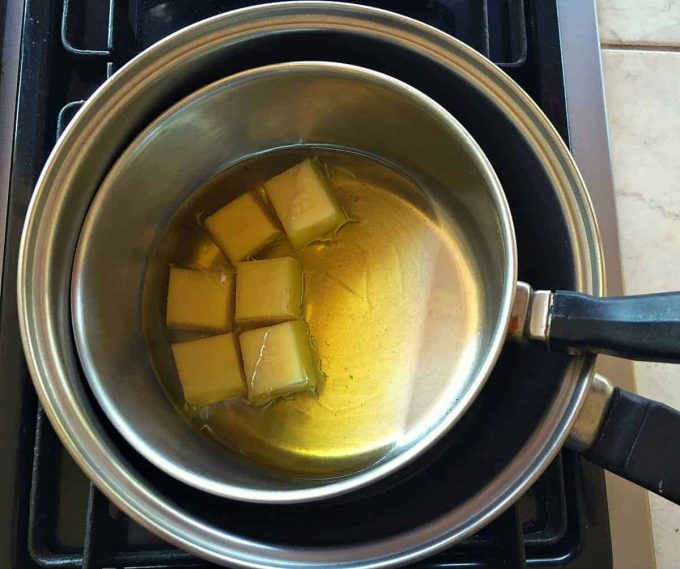 melt beeswax in oil
