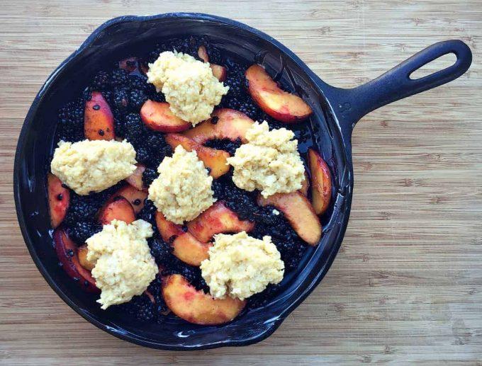 peach blackberry cobbler before