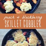 Peach and blackberry cobbler cooked in a cast iron skillet.