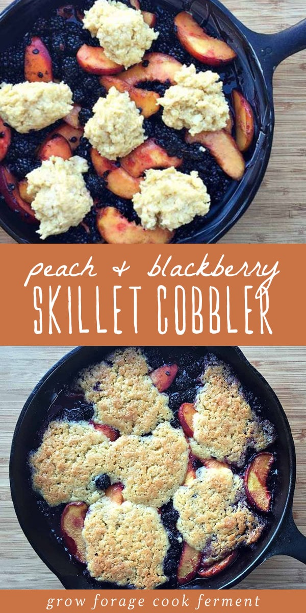 Topped with vanilla ice cream, this skillet peach and blackberry cobbler is the perfect summer dessert! It is simple to make and easily adaptable, perfect for last minute company, or if you decide on a whim that you want a tasty treat. Learn how to make traditional skillet cobbler, the perfect summer treat! #castironskillet #desserts
