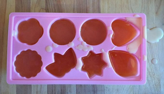 pour lotion bar into mold