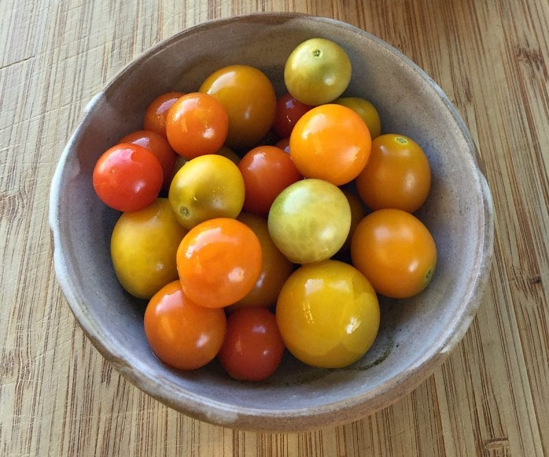 fermented cherry tomatoes in a bowl