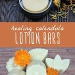 Calendula lotion bars in a tin, and calendula lotion bars on a wood background.