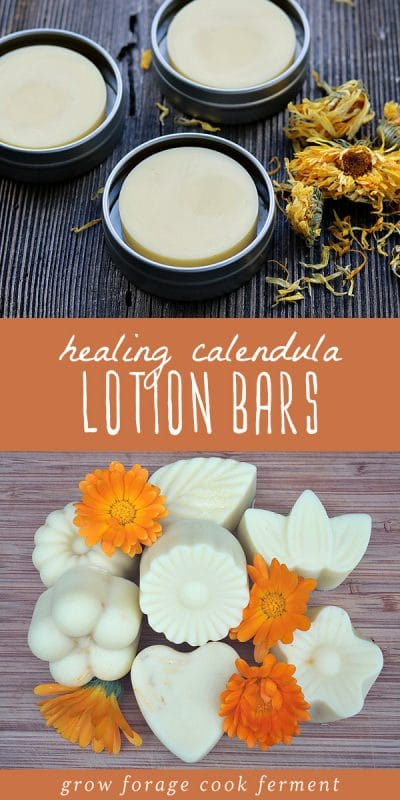 Calendula lotion bars in a tin, and calendula lotion bars on a wood background.