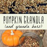 A baking sheet filled with pumpkin granola, and a jar filled with pumpkin granola on a wood cutting board.