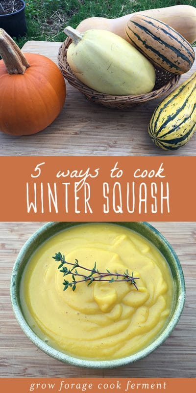 A variety of winter squash on a wood table, and a bowl of winter squash soup.