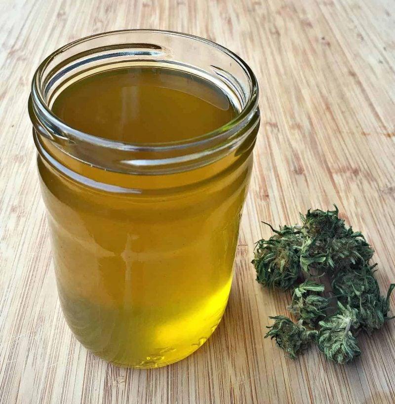 a jar of homemade cbd oil