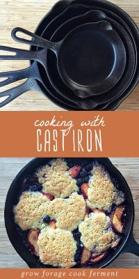 A stack of cast iron skillets and a cobbler cooked in a cast iron skillet.