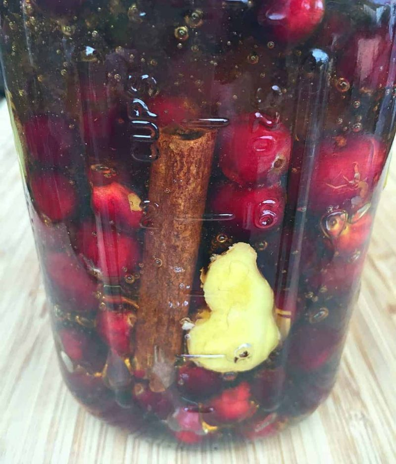 cranberries, cinnamon stick, and ginger in honey
