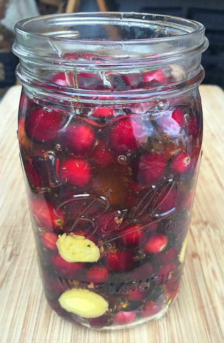cranberries, ginger, and honey in a quart jar