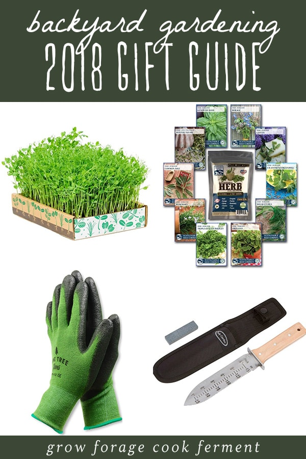 A collage of gift ideas for backyard gardeners and permaculture enthusiasts.