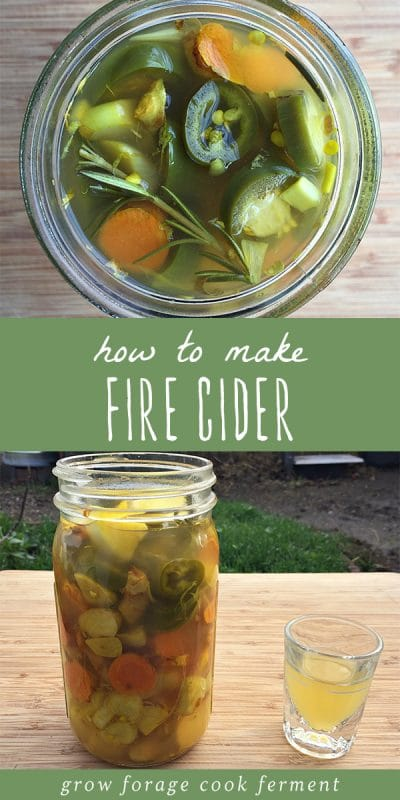 Two images of a batch of healing medicinal fire cider in a glass jar.