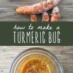 Fresh turmeric on a cutting board, and a fermented turmeric bug in a glass jar.