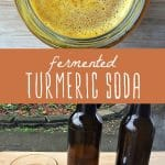 A jar of fermented turmeric soda, and glass of turmeric soda.