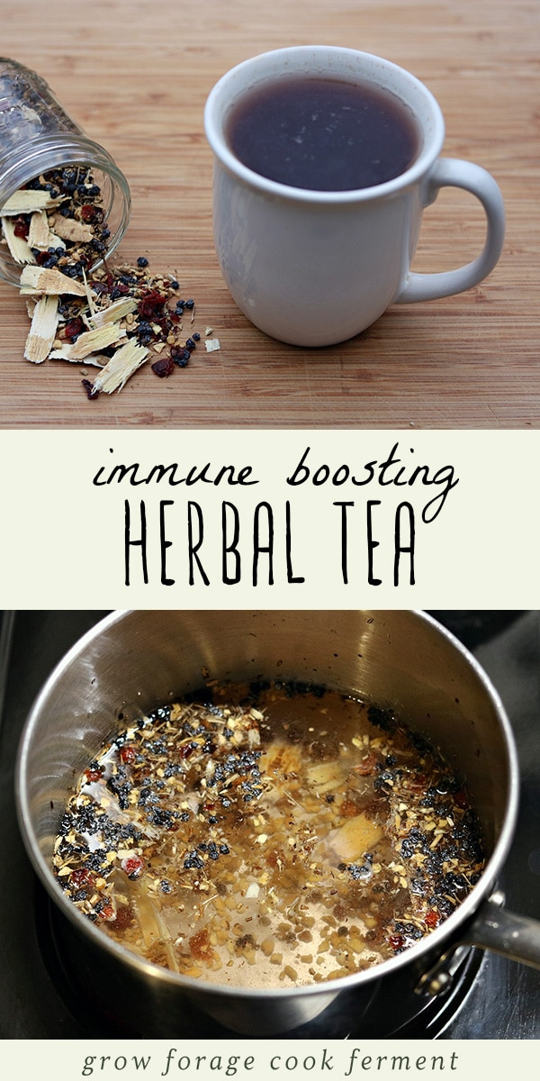 This immune boosting herbal tea blend is the perfect natural remedy to have on hand for cold and flu season. It's a simple herbal tea blend with immune boosting herbs like elderberry, rose hips, echinacea and ginger. This recipe is so easy to make, not to mention delicious, and perfect for soothing a sore throat, easing cold and flu symptoms, and so much more! #herbalism #homeremedy #tea #herbaltea #immunity #herbalmedicine