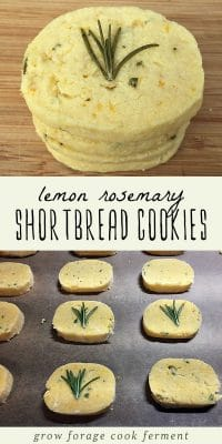 A stack of lemon rosemary shortbread cookies, and shortbread cookies on a baking sheet.